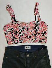 Aeropostale Bethany Mota Sz M Pink Black Floral Cage Back Crop Top Boho Cute