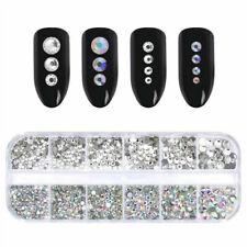 1Box Nail Art Rhinestones Glitter Diamond Crystal Mix Gem 3D Tips Decoration Usa