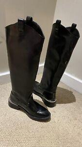 Zara Trf Women's Black Leather Long Boots UK Size 6 EU 39