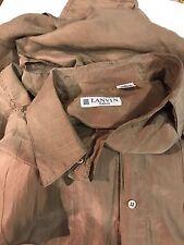 LANVIN Paris Vintage Short Sleeve Collar SILK Shirt Button Down Tan Beige Large
