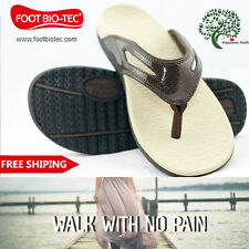 Foot Bio-Tec Spring Series Womens Orthotic Shoes Thongs Arch Support Brown Size