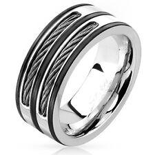 Herren Ring Herrenring Edelstahl Stahlseil Wire Inlays silber schwarz black