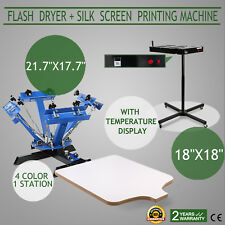 "4 Color 1 Station Silk Screen Printing Press Machine With 18""x18"" Flash Dryer"