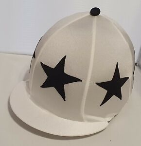 RIDING HAT COVER - WHITE WITH LARGE SEWN BLACK STARS & BLACK BUTTON