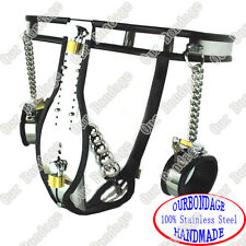 NEW Male Stainless Steel Adjustable Chastity Belt + PLUG + Cuffs FREE SHIPPING