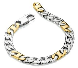 """Fred Bennet 8.75"""" Stainless Steel & Gold Men's Contemporary Curb Link Bracelet"""