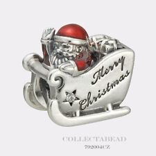 Authentic Pandora Silver Sleighing Santa Translucent Red Enamel Bead 792004CZ