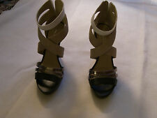 WOMENS ALDO LEATHER HIGH HEEL ZIPPER BACK OPEN TOE SHOES SIZE  36 B ( 5 1/2  )M