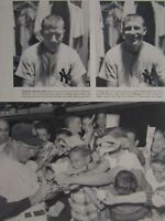 Mickey Mantle Joe DiMaggio Vintage Print-Mick Loafing-New York Yankees 8.5 x 11""