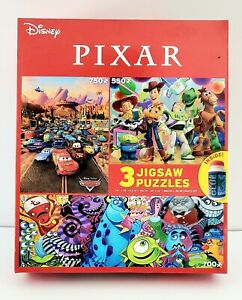 Disney Pixar Jigsaw Puzzles 3 in 1 Pack with Glue New