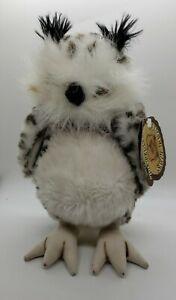 "Talking HOUTESSA OWL White Snowy 9"" Plush Bird Ranger Rex Stuffed Animal"