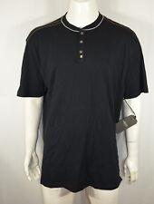 Six Lincoln Men's Henley shirt 4X Short Sleeve Black  NWT