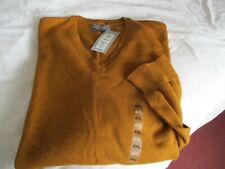 BNWT-MENS MARKS &SPENCER V NECK 100%COTTON GOLD JUMPER SZ 4XL FATHER'S DAY GIFT!