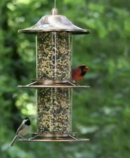 New listing Plated Copper And Glass Bird Feeder