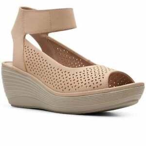 BNIB Clarks Ladies Reedly Jump Sand Leather Wedged Sandals