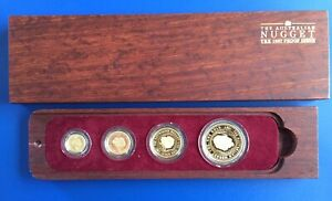 Rare 1987 Australia 4 Coin Proof Gold Nugget Set 1.85 AGW  With Certificate