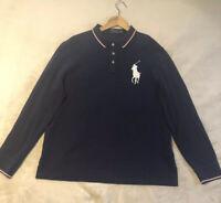 Free Ship Polo Ralph Lauren Men's Navy Blue XL Big Pony Polo Long Sleeve Shirt