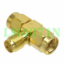 1pce Adapter SMA female JACK to 2x SMA male PLUG T RF Splitter triple 1F2M