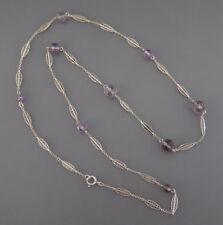 Antike lange Filigran Silber Kette & Amethyst* 800 Silber * 74 cm !