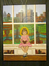 "Knowledge is Power Original Acrylic Painting Dallas Skyline Reading 36""x 28"""