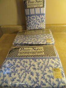 Vintage Private Nights 100% Cotton Flannel Sheet Set Linen Center Blue White NEW