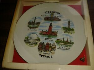 "HARD TO FIND PRISTINE COLOURFUL MULTI IMAGE 7 1/2"" PLATE STOCKHOLM SVERIGE"