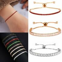Elegant Zircon Crystal Bracelet Adjustable Bangle Women Card Jewelry Gift Hot