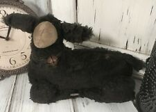 Primitive Hand Made Rustic Aged Black Sheep Home Decor Doll Fabric Farm Accent