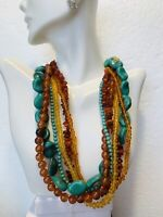 Mid 1900's Vintage Amber Turquoise Costume Necklace With Yellow Glass Beads