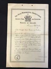 "Vintage Masonic Certificate, Grand Lodge of Ireland, Membership,  ""Cancelled"""