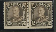 Canada 1930 KGV Arch/Leaf 2c 'Cock Eyed King' coil line pair #182iii mhr