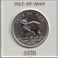 Isle of Man Manx 1970 QE II 1 Crown  Manx Cat uncirculated cased