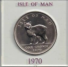 Isle of Man Manx 1970 QE II 1 Crown  Manx Cat uncirculated cased