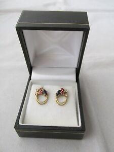 Dainty Modern Ruby Sapphire Diamond 9ct Gold Earrings Pierced Ears