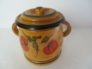 Vintage Wooden Canister Turned Wood Tomatoes Red Flowers Print Handles #11115
