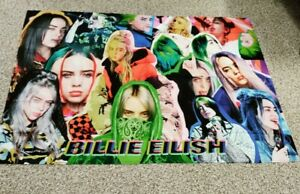 """Billie Eilish PORTRAIT faces pictures Wall Tapestry/FABRIC 60"""" X 40"""" WALL DECOR"""