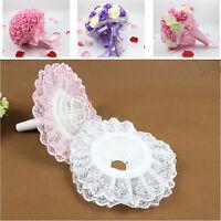 DIY Bridal Wedding Supplies Flower Bouquet Holder Handle Lace Decoration