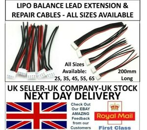 Lipo Balance Repair Replacement Lead Cable 20cm JST-XH MALE 2S 3S 4S 5S 6S UK RC