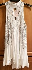 FREE PEOPLE CROSS MY HEART IN LACE TUNIC IVORY SIZE M NWT