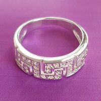 Nuevo Lujo Art Deco Anillo de Cinta Auténtico 925 Plata Ley Circonia Cristales