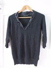DAVID LAWRENCE Sz S Black 3/4 Sleeve Knit Top with Satin Neckline VGC