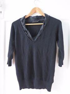 DAVID LAWRENCE Sz S Black 3/4 Sleeve Knit Top with Satin Neckline VGC