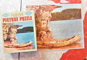 Canoe Time Wisconsin Dells Vintage Mid Century 100Piece Jigsaw Puzzle Built Rite