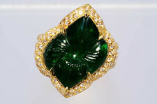 $25,500 13.71Ct Natural Hand Carved Emerald & Diamond Ring 18K
