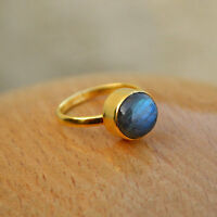 AAA Blue Fire Labradorite Gemstone 18K Yellow Gold Christmas Gift Ring Size 7