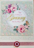 Gran, Grandma, Nan Birthday Cards - Handmade - With Love, Flowers, For You