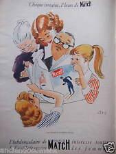 PUBLICITÉ 1956 L'HEBDOMADAIRE PARIS MATCH INTÉRESSE LES FAMILLES - ADVERTISING