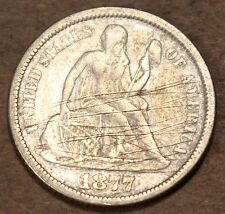 1877 Seated Liberty Silver Dime, Extremely Fine condition, scratched, d467