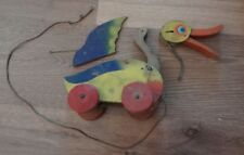 Vintage Antique Wooden Duck Pull Toy! 1930's?? Barn Fresh!