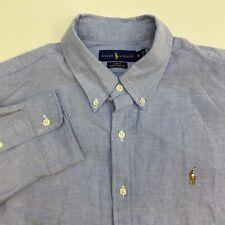 Ralph Lauren Button Up Shirt Mens XL Slim Fit Blue Long Sleeve Casual